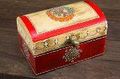 stock photo of jewel-case  - colorful wooden jewel box ethnic style - JPG