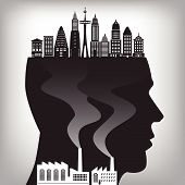 picture of polluted  - An illustration of pollution in the city for pollution concept - JPG
