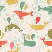picture of whale-tail  - Stunning seamless pattern with cute whales in vintage colors - JPG