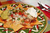 stock photo of nachos  - Mexican Nachos with cheese - JPG