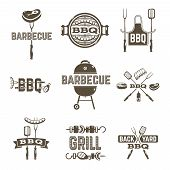 picture of grilled sausage  - Barbecue and grill premium quality labels set isolated vector illustration - JPG