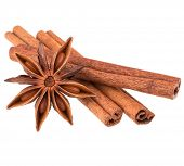 stock photo of cinnamon sticks  - cinnamon stick and star anise spice isolated on white background closeup - JPG