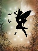 stock photo of moon silhouette  - fairy silhouette in a forest with big moon - JPG
