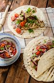 stock photo of souvlaki  - Turkey kebab with parsley salsa kebab grilled delicious salsa - JPG