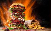 pic of burger  - Delicious burger with fire flames - JPG