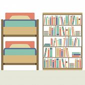 picture of bunk-bed  - Flat Design Bunk Bed With Big Bookcase Vector Illustration - JPG