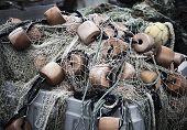 stock photo of martha  - Fishing nets in Menemsha - JPG