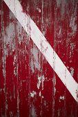foto of martha  - Weathered red door with white stripe in Memensha Massachusetts on Martha - JPG
