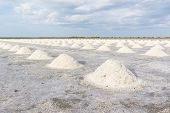foto of salt mine  - Heap of sea salt in salt farm ready for harvest south of Thailand - JPG