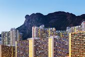 stock photo of overpopulation  - Hong Kong cityscape at night - JPG