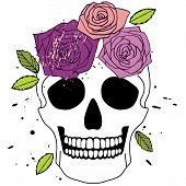 image of purple rose  - Vector isolated white simple skull with purple and pink roses with green leaves - JPG