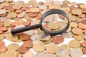 pic of cony  - Picture of a Business Money Concept Idea Conis and Magnify Glass - JPG