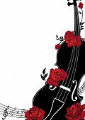 foto of violin  - Vector floral musical composition with violin and roses in red black and white colors - JPG