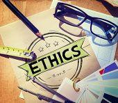 stock photo of ethics  - Ethics Integrity Fairness Ideals Behavior Values Concept - JPG
