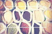 pic of legume  - Diverse Multi Colored Legume Bean Sack Market - JPG