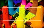 image of face-powder  - Multicolored Face Powder Dye Holi Traditional Celebration Festival - JPG