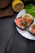 foto of butter-lettuce  - Homemade sandwich with salmon and rye bread  - JPG