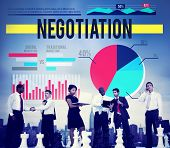 foto of negotiating  - Negotiation Agreement Contract Marketing Business Concept - JPG