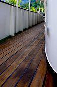image of passenger ship  - Boat wooden deck and  corridor in passenger ship - JPG