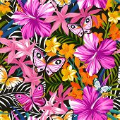 foto of jungle flowers  - Seamless exotic pattern with tropical leaves - JPG