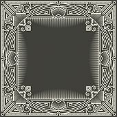 foto of initials  - Vector floral and geometric monogram logo on dark gray background - JPG