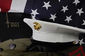 stock photo of united states marine corps  - United States Marine Corps American Faith and Spirit with Bible and American Fag - JPG