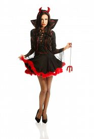 picture of trident  - Full length woman wearing devil clothes - JPG