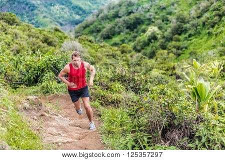 Trail runner running in summer mountain nature landscape on difficult path in mountains in summer wi