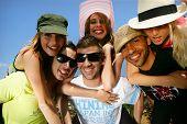 stock photo of summer fun  - Group of friends having fun in summer - JPG