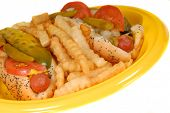 stock photo of hot dogs  - closeup of chicago style hot dogs with french fries on yellow plate - JPG