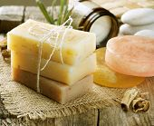 foto of cosmetic products  - Handmade Soap closeup - JPG