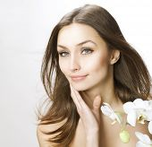 stock photo of middle-age  - Beauty touching her face - JPG
