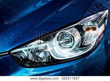 Poster: Blue Compact Suv Car With