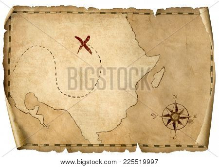 treasure pirates old map isolated