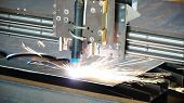 Industrial Plasma Machine Cutting Of Metal Plate. Clip. Cutting Metal Plates Gas Cutting. Steel Plat poster
