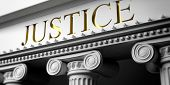 Courthouse. Justice written on a marble pillars building facade, close up view. 3d illustration poster