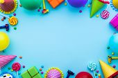 Birthday party background with party hats and candy poster