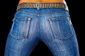 pic of saxy  - Sexy female ass dressed in jeans on black background - JPG