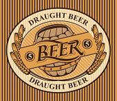 Template Oval Vector Label Or Banner For Draught Beer With A Wooden Barrel And A Wreath Of Wheat Ear poster