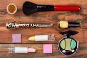 Professional Brush For Makeup And Cosmetics. Feminine Makeup Background With Colorful Cosmetics. Fas poster