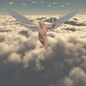 Surrealism. Naked man with angels wings flies in cloudy sky. 3D rendering poster