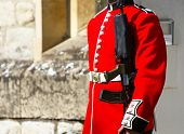 Guard Uniform Details, London, Uk. British Guards In Red Uniforms Are Among The Most Famous In The W poster
