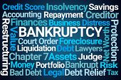 Bankruptcy Word Cloud on Blue Background poster