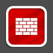 Firewall icon. Flat design square internet banner. poster