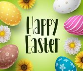 Happy Easter Background Design Template With Colorful Eggs And Daisy Flowers Boarder. Easter Greetin poster