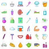 Glimmer Icons Set. Cartoon Set Of 36 Glimmer Vector Icons For Web Isolated On White Background poster
