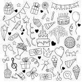 Big Set Of Hand Drawn Doodle Cartoon Objects And Symbols On The Birthday Party. Design Holiday Greet poster
