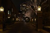 Gated Community With Trees Illuminated For Christmas Holiday Season And Christmas Wreath On Metal Ga poster