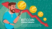 Bitcoin Crash Graph Vector. Surprised Investor. Negative Growth Exchange Trading. Collapse Of Crypto poster