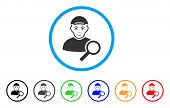 Search User Rounded Icon. Style Is A Flat Search User Gray Symbol Inside Light Blue Circle With Blac poster